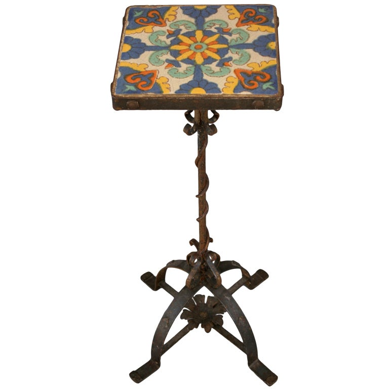 California Tile Table Drink Stand With Exceptional Iron