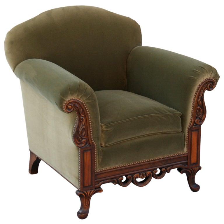 Spanish Revival Velvet Chair At 1stdibs