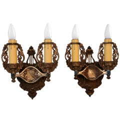 Pair Of Double Crested Sconces