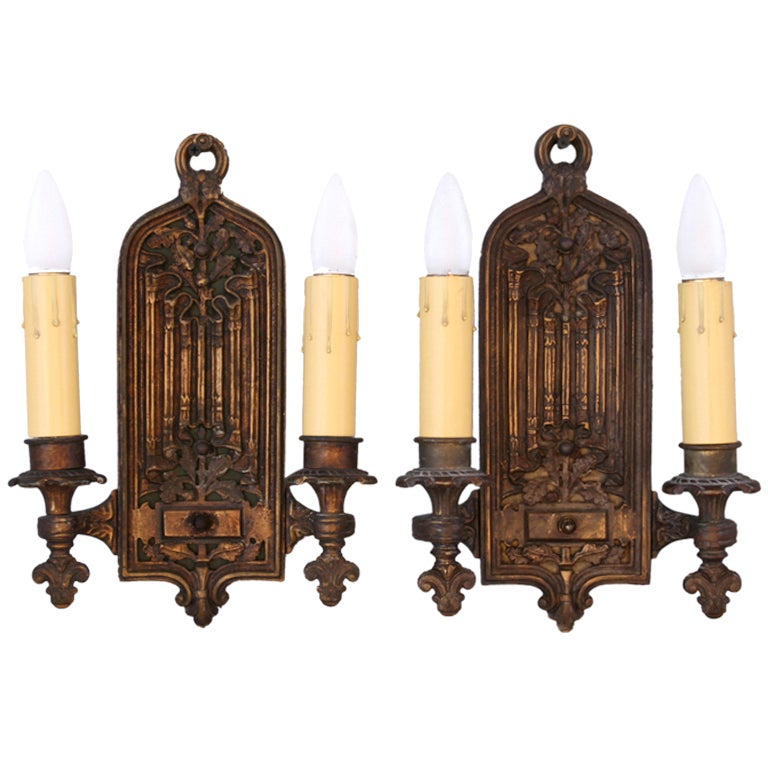 Vintage Wall Lights Double : Antique Tudor Style Double Sconces at 1stdibs