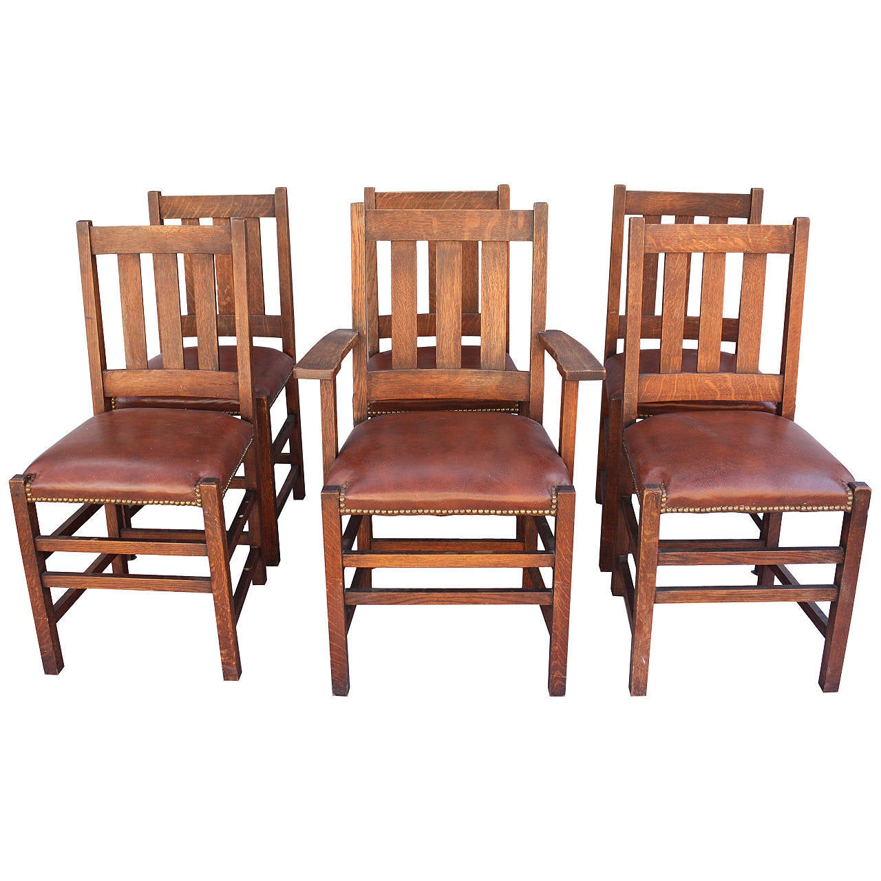 Antique 1910 Set Of Limbert Arts And Crafts Chairs At 1stdibs