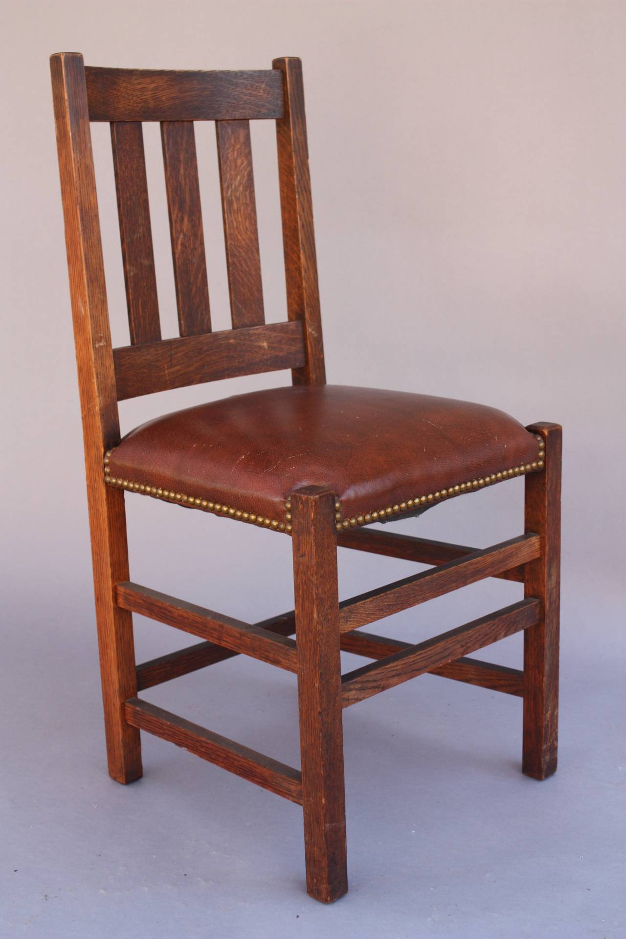 Antique arts and crafts furniture - Antique 1910 Set Of Limbert Arts Crafts Chairs 3