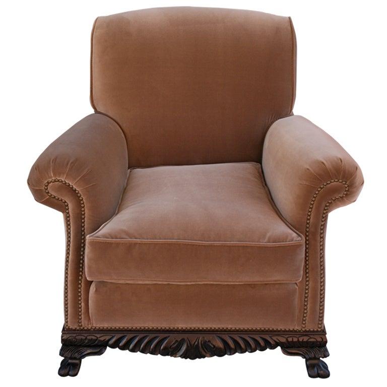 Classic 1920s Velvet Armchair At 1stdibs