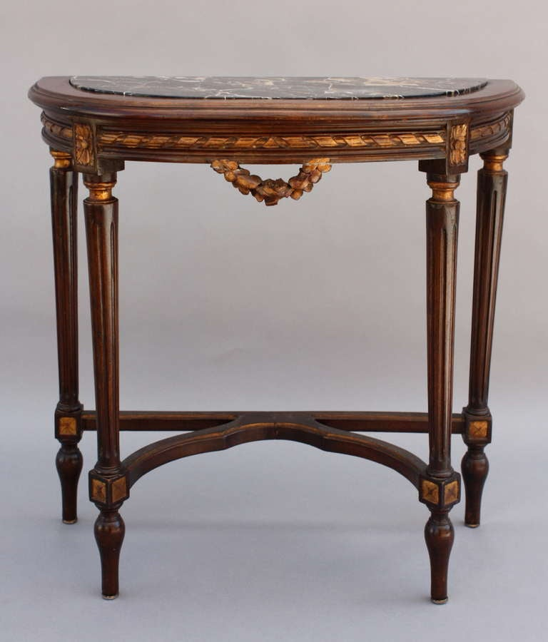 1920 39 s demi lune table with marble at 1stdibs for Table demi lune extensible