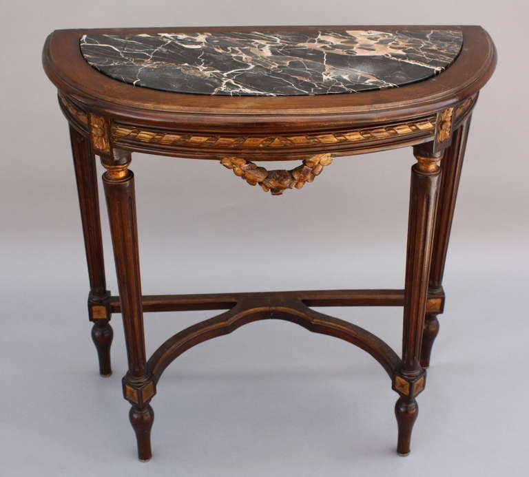 1920 39 s demi lune table with marble at 1stdibs for Table cuisine demi lune