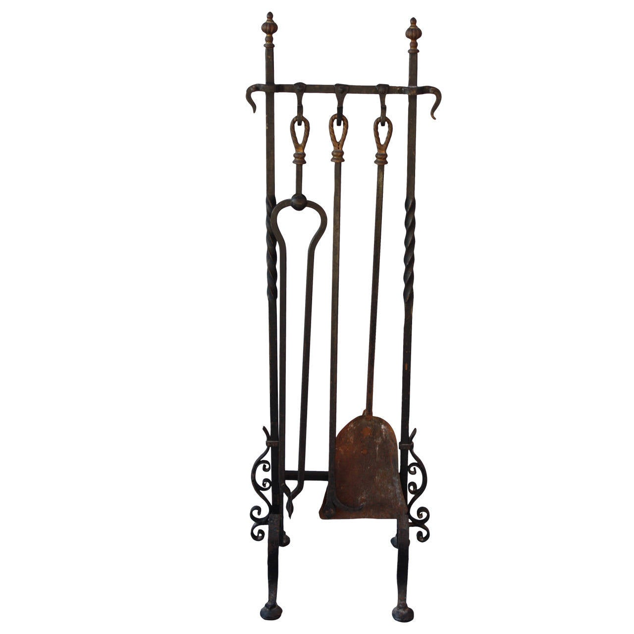 1920s Wrought Iron Fire Tool Set At 1stdibs