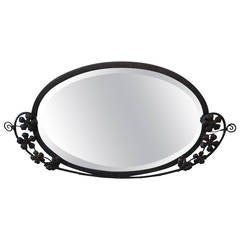 1920s Wrought Iron Oval Mirror, Spanish Revival