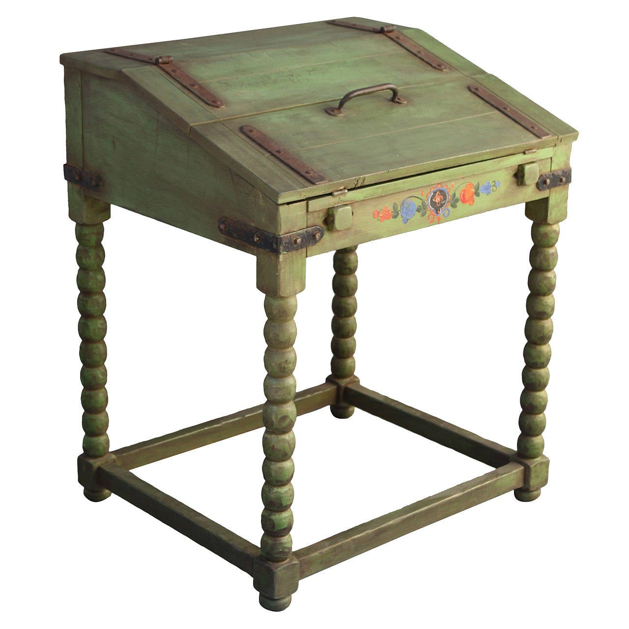 Rare Monterey Fold Down Writing Desk In Spanish Green For