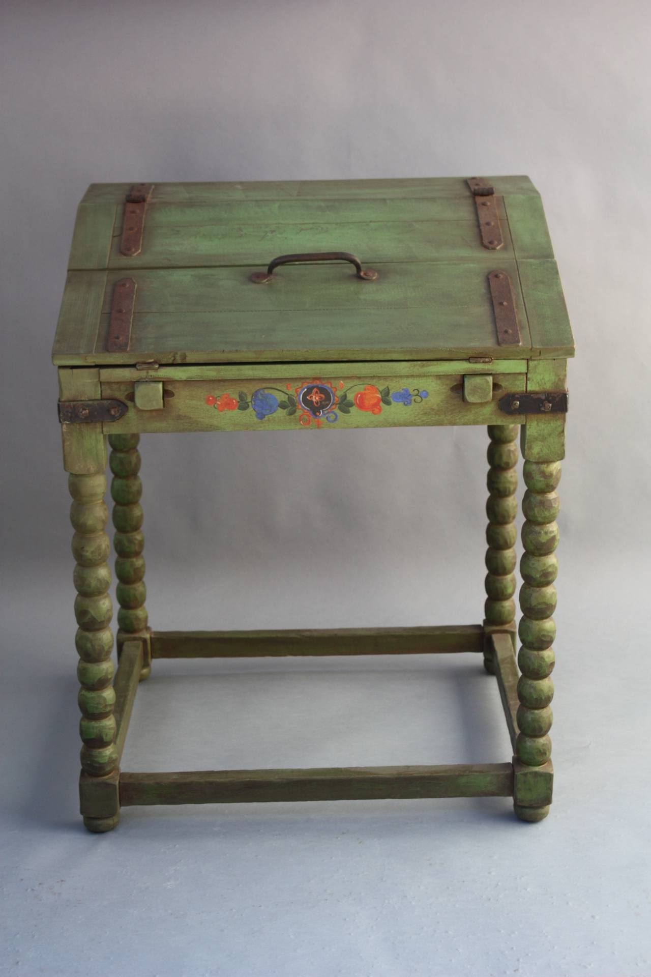 Rare monterey fold down writing desk in spanish green at for Furniture in spanish