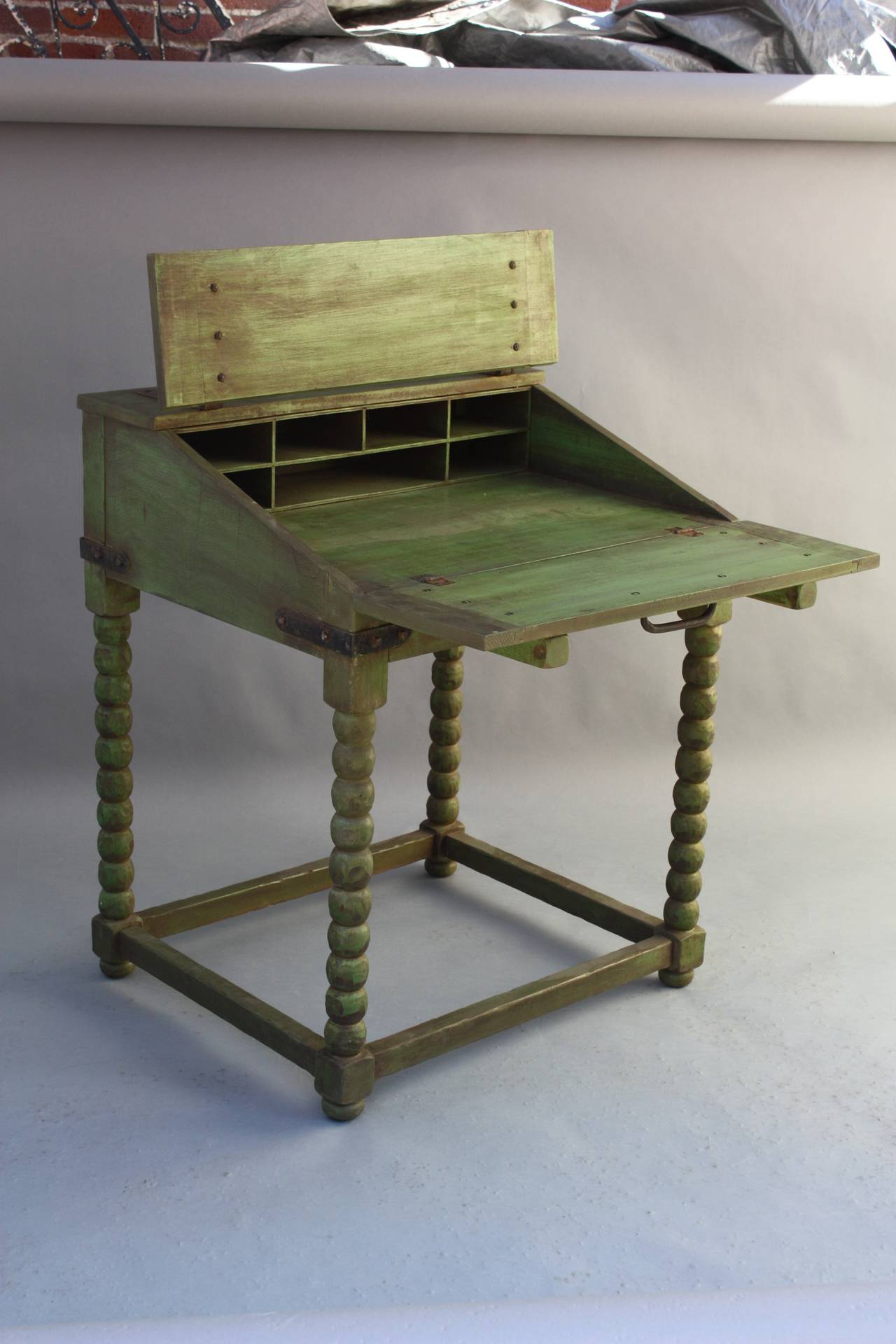Rare monterey fold down writing desk in spanish green at for Fold down desk