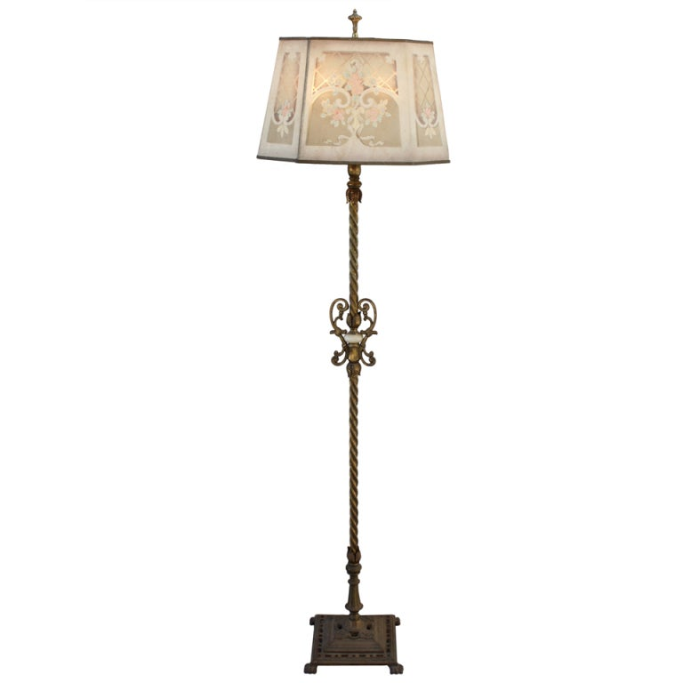 Lovely 192039s floor lamp with metal mesh shade at 1stdibs for Floor lamp with wire shade