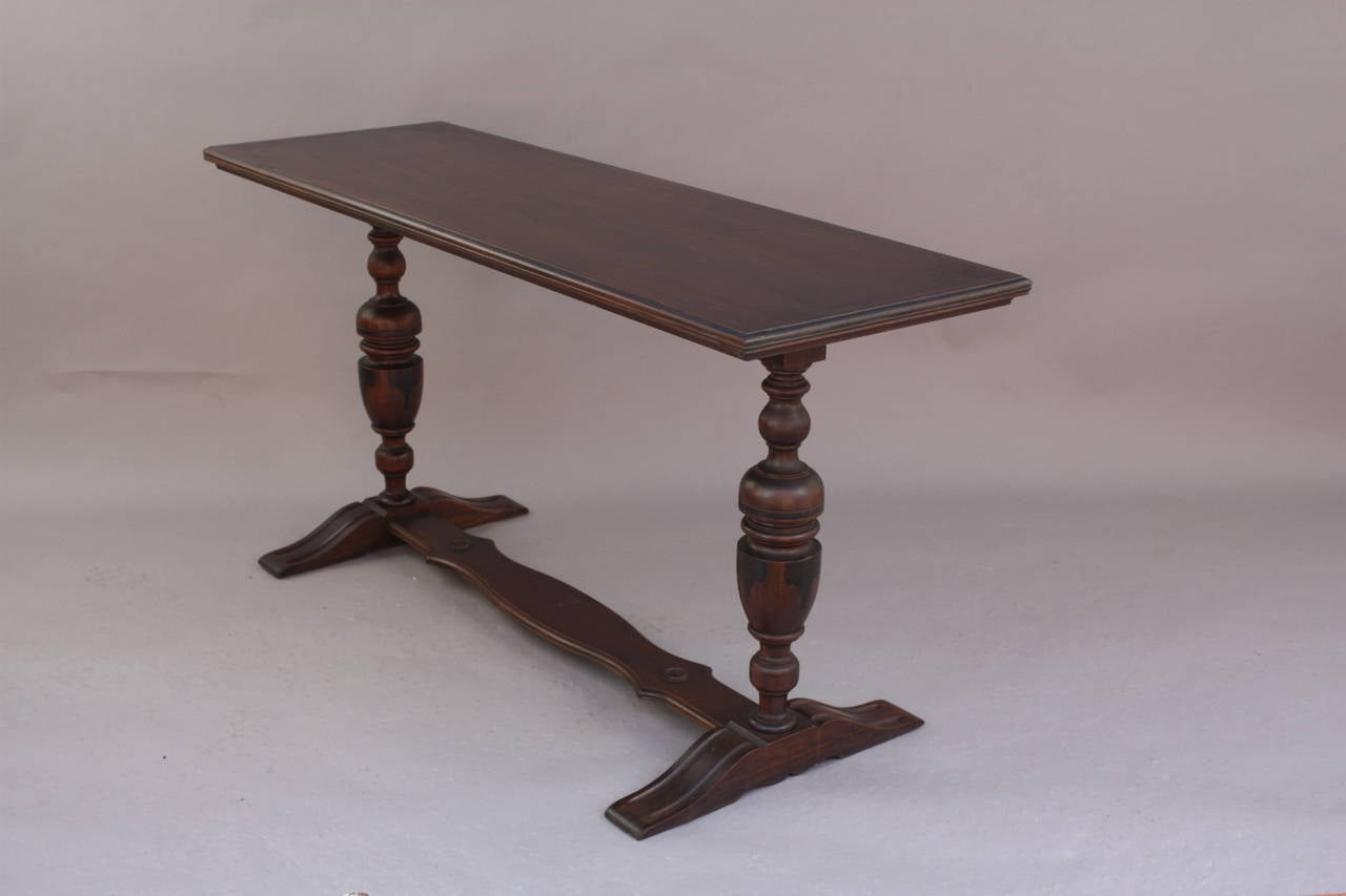 Narrow Antique Dark Walnut Console Table Circa 1920s At