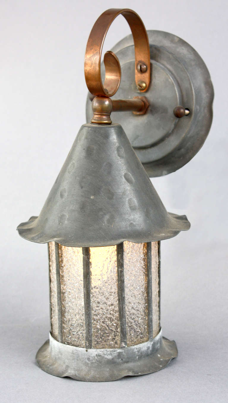 1920s Hammered Bronze and Copper Tudor Sconce at 1stdibs