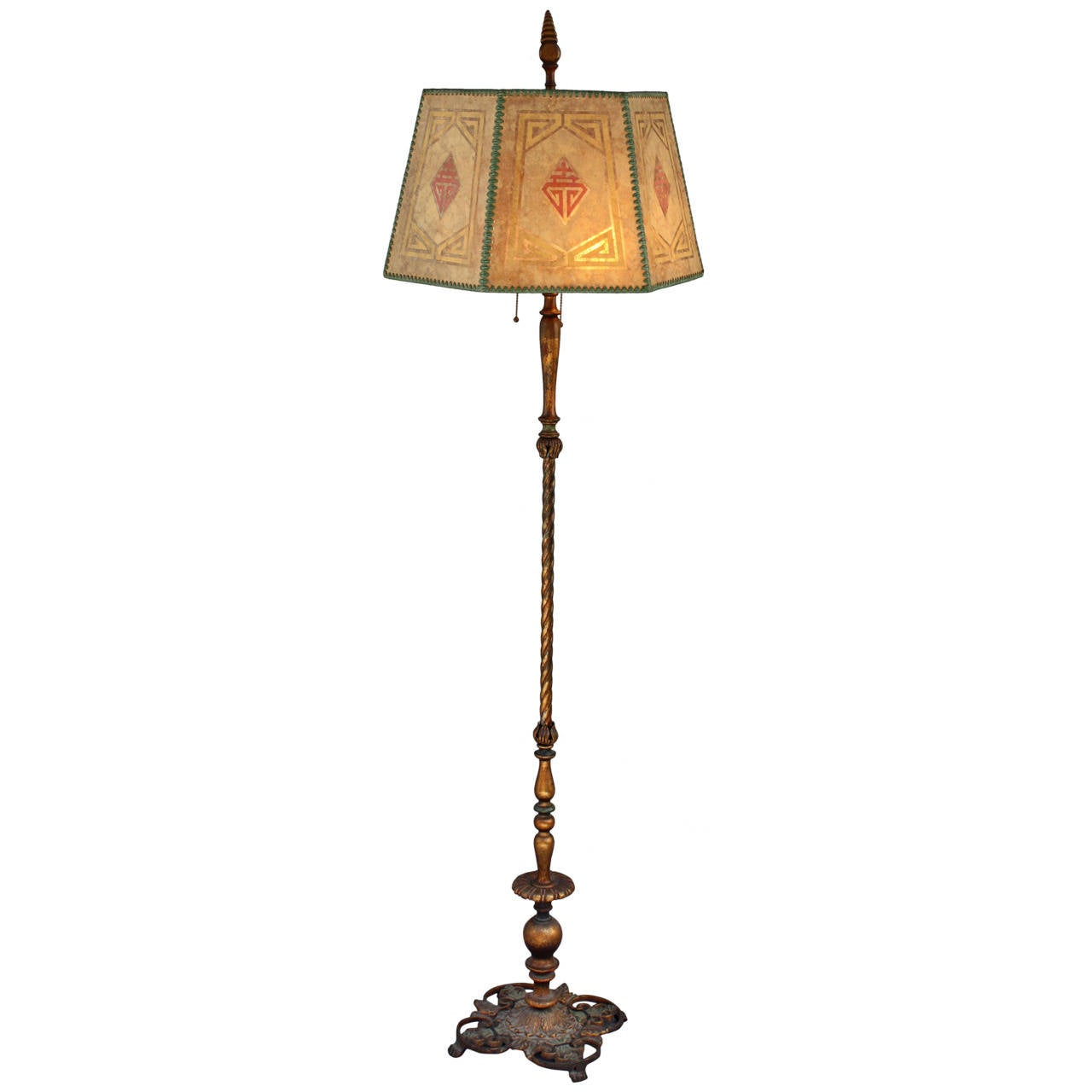 Handsome 1920s floor lamp with mica shade at 1stdibs for 1920 s wood floor lamp