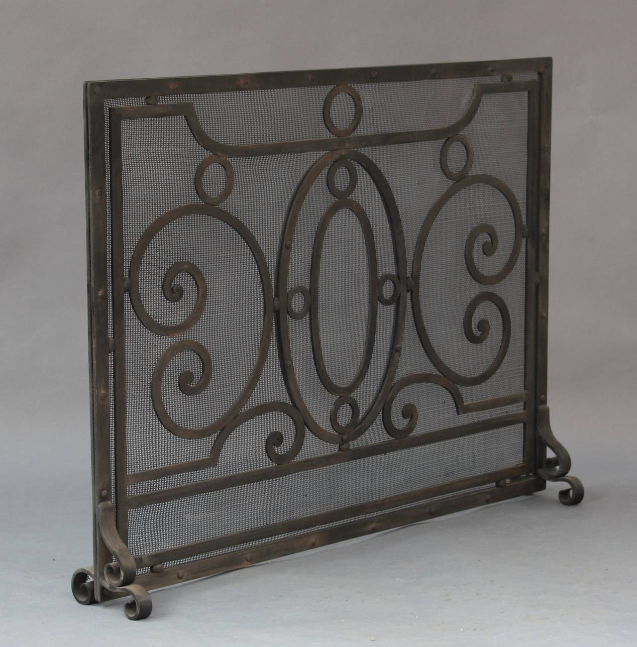 1920s Wrought Iron Fire Screen At 1stdibs