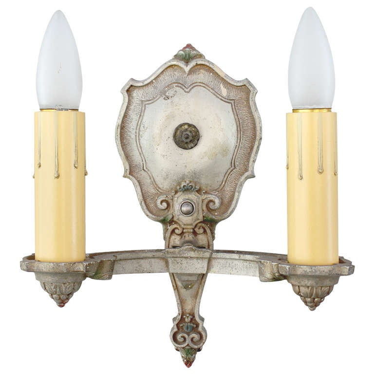 Silver tone 1920s Double Sconce