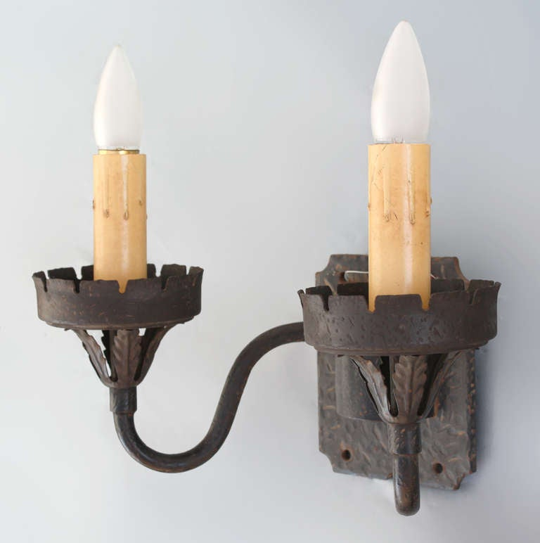 Wall Sconces En Espanol : 1920s Spanish Revival Double Sconce at 1stdibs