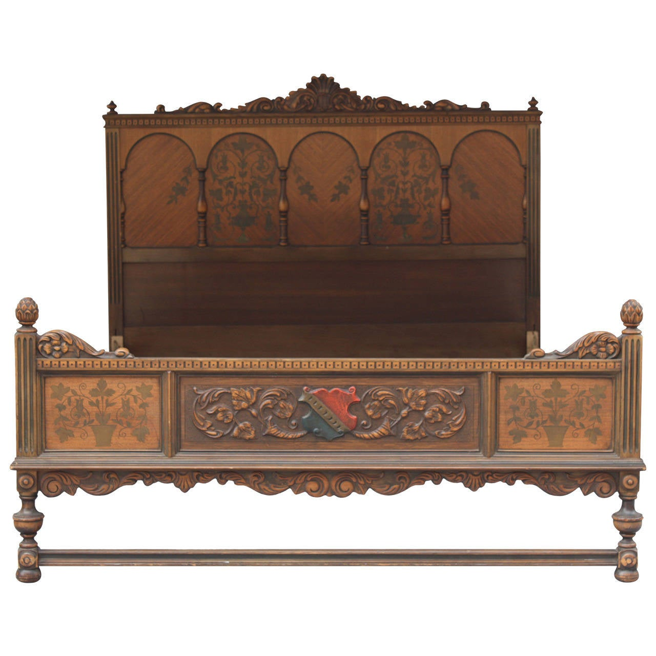 Antique 1920s Beautiful Spanish Revival Double Bed