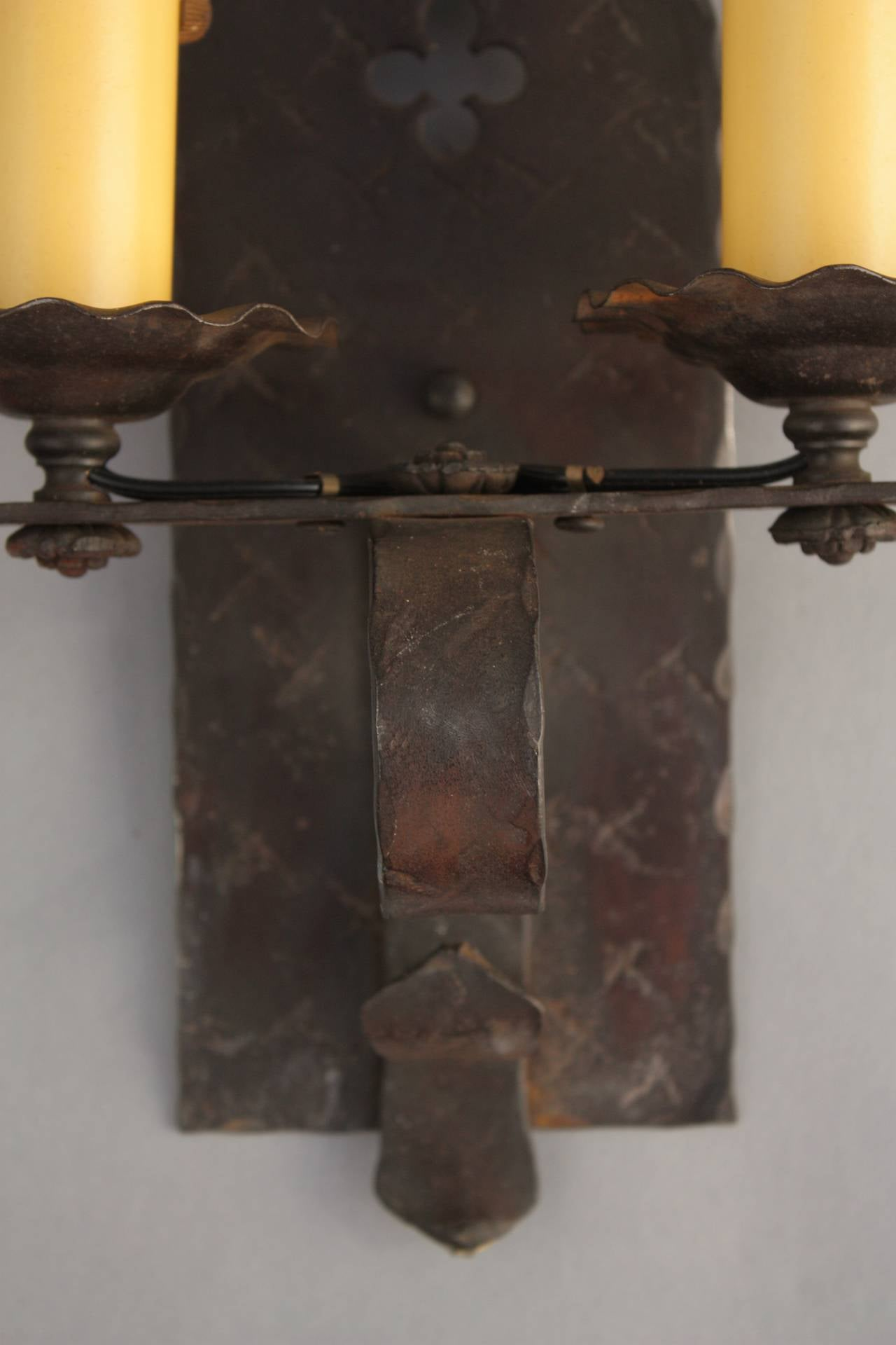 Wall Sconces Double : Single Antique Double Wall Sconces at 1stdibs