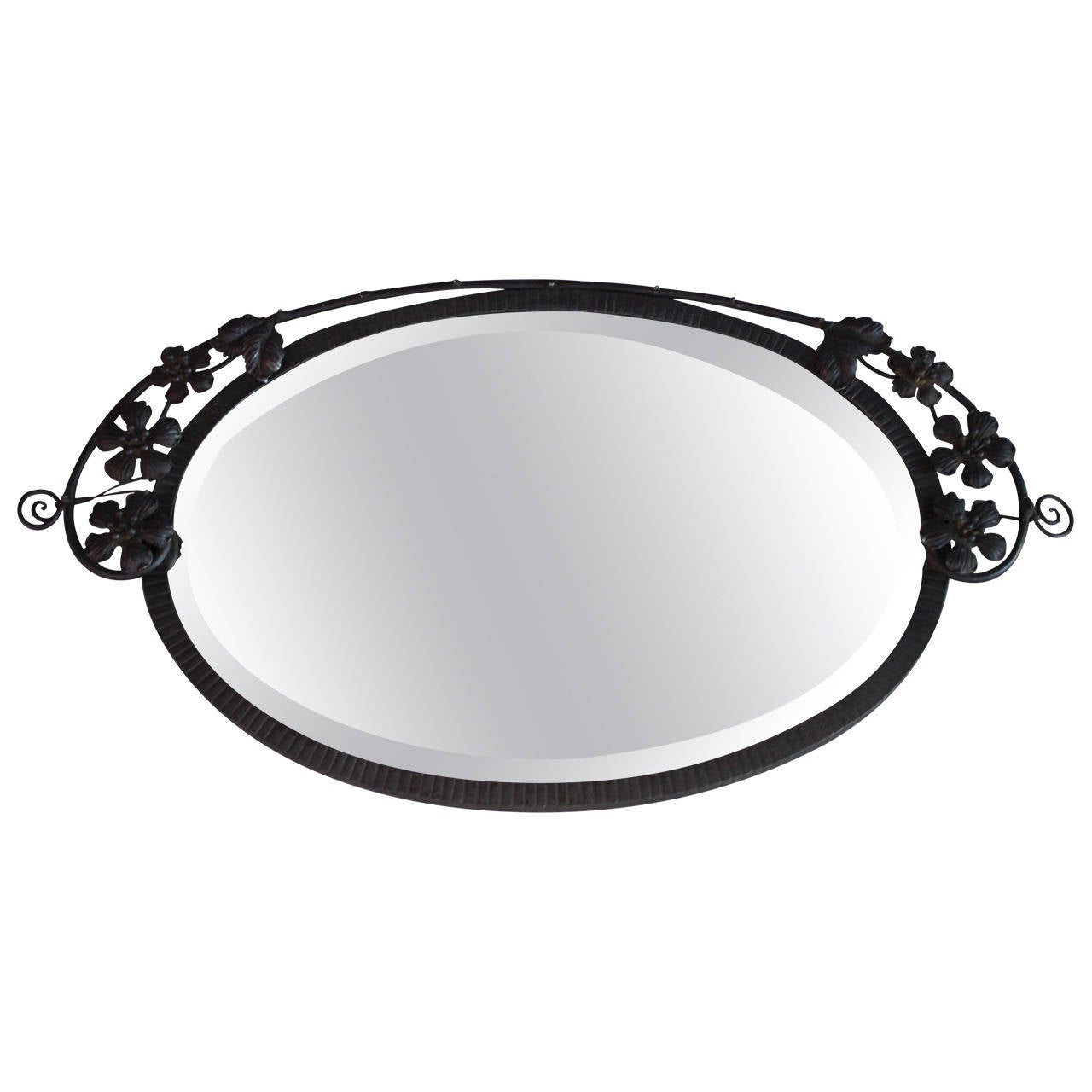 1920s wrought iron oval mirror spanish revival at 1stdibs for Wrought iron mirror