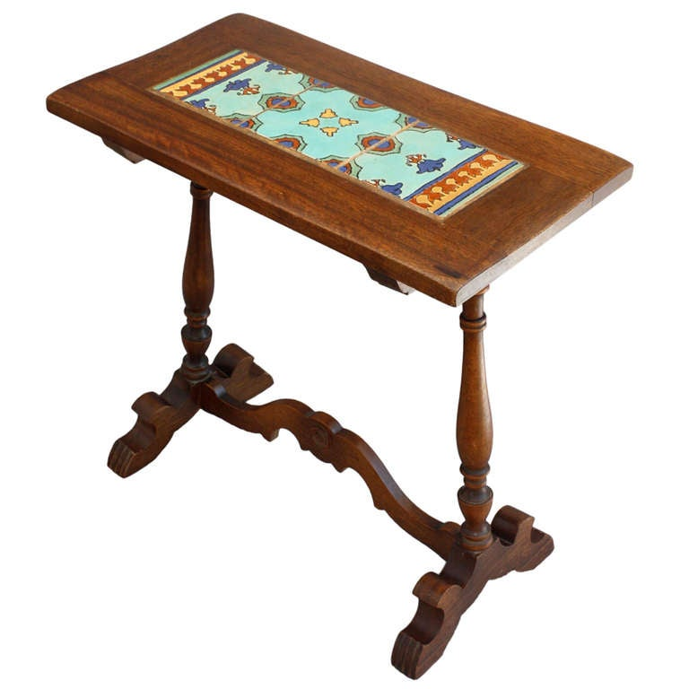 Narrow Tiled Side Table C 1920 S At 1stdibs