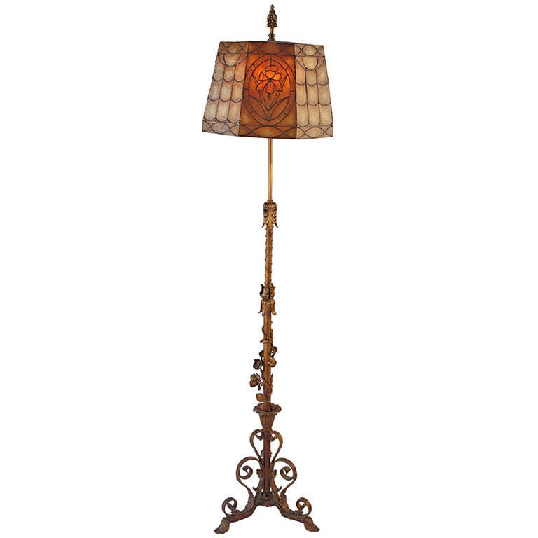 1920s Grand Polychrome Floor Lamp With Wonderful Mica Shade