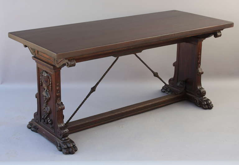 Nice Antique 1920s Carved Mahogany Spanish Revival Console Table 3