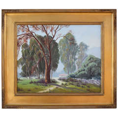 Early 20th Century Landscape with Trees and House by Naomi Taylor Evans