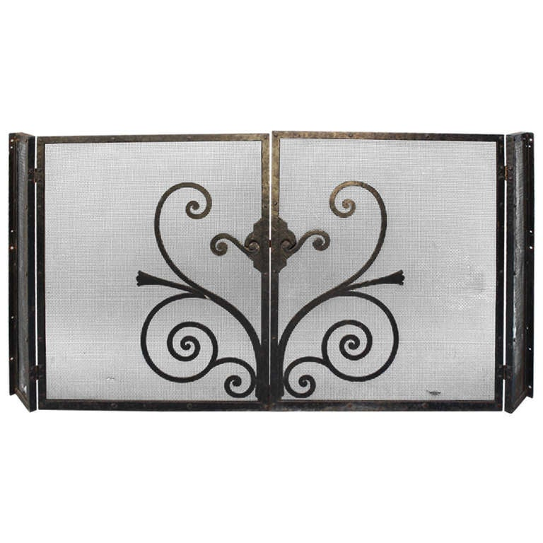 1920s Large Wrought Iron Fire Screen At 1stdibs