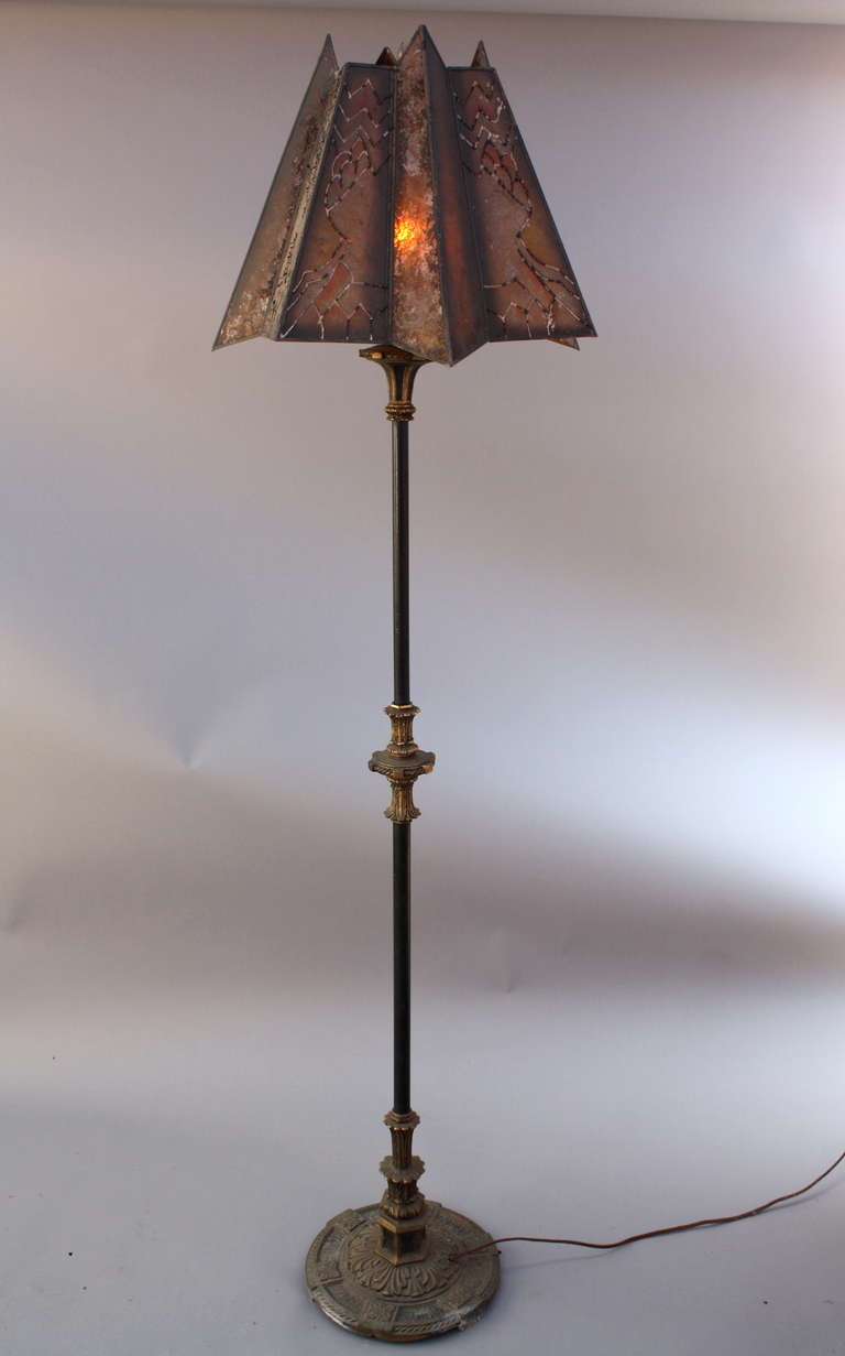 1920s Floor Lamp with Mica Shade For Sale at 1stdibs