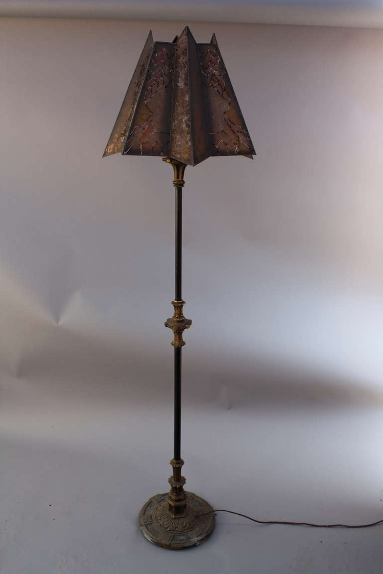 1920s Floor Lamp With Mica Shade At 1stdibs