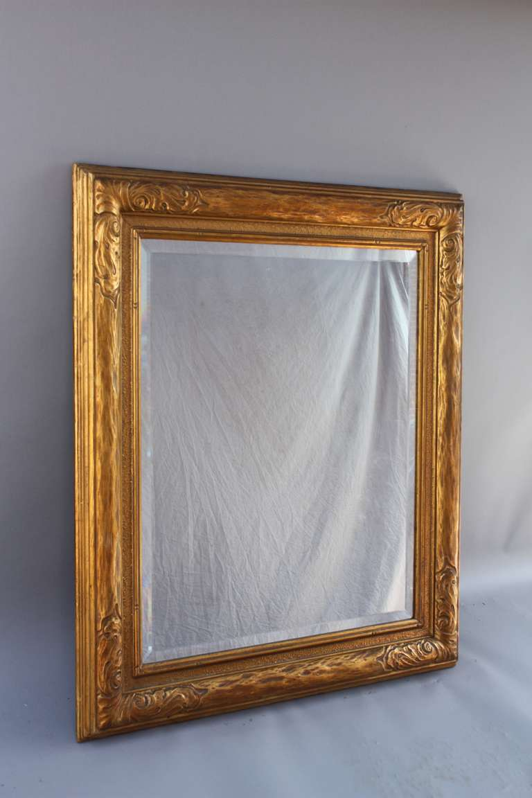 1920s Carved Wood Mirror With Gilt Frame At 1stdibs
