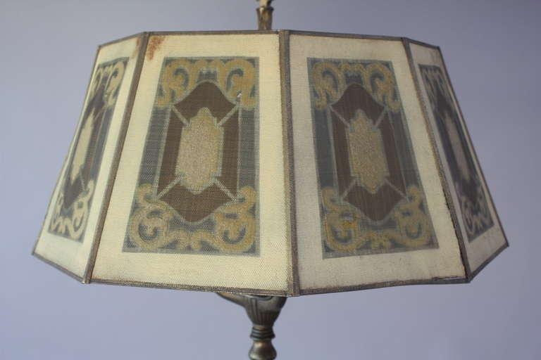 1920s antique floor lamp with metal mesh shade at 1stdibs. Black Bedroom Furniture Sets. Home Design Ideas