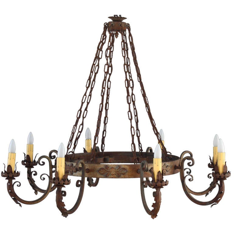 Items Similar To Lighting Rustic Chandelier Vintage 1920 S: Antique 1930s Large Scale Spanish Revival Chandelier At
