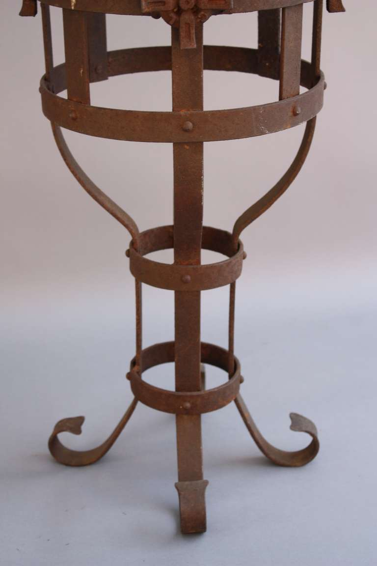 1920s spanish revival wrought iron side table with for Wrought iron side table