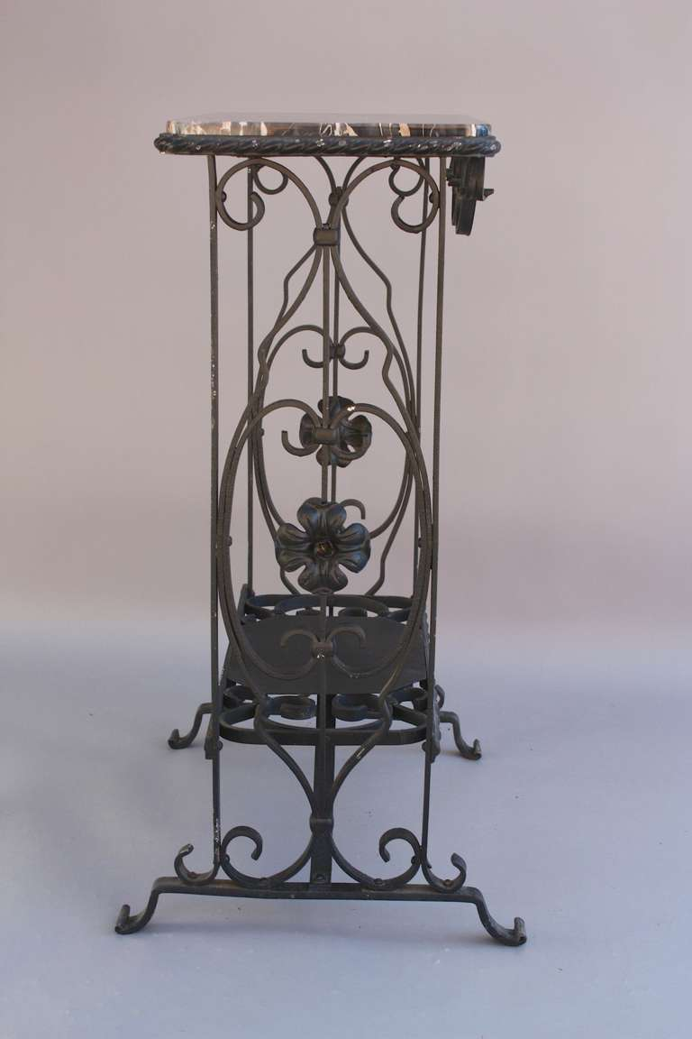 1920s narrow wrought iron and marble side table at 1stdibs for Wrought iron side table