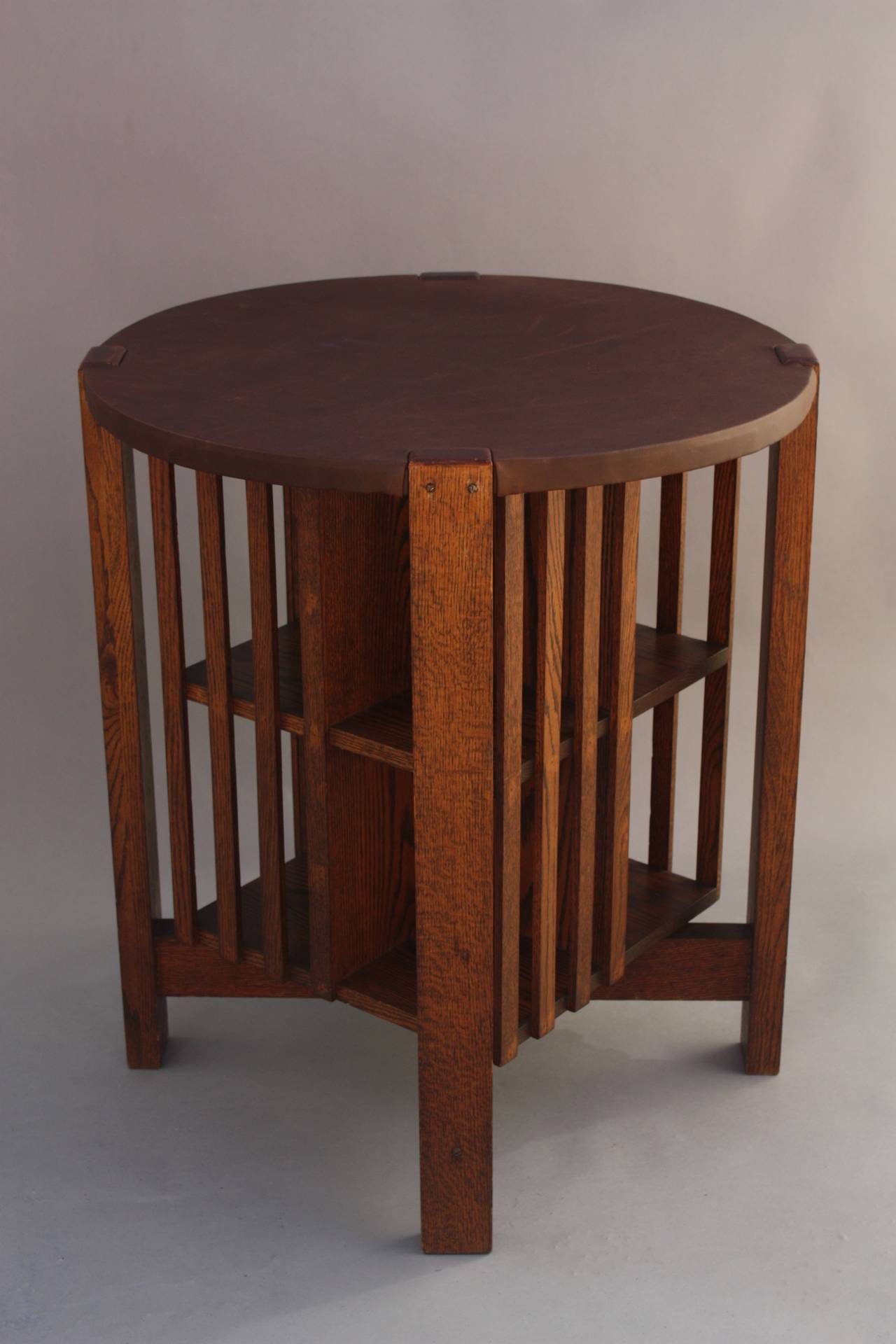 Round Arts & Crafts Table with Revolving Bookcase 2 - Round Arts And Crafts Table With Revolving Bookcase At 1stdibs
