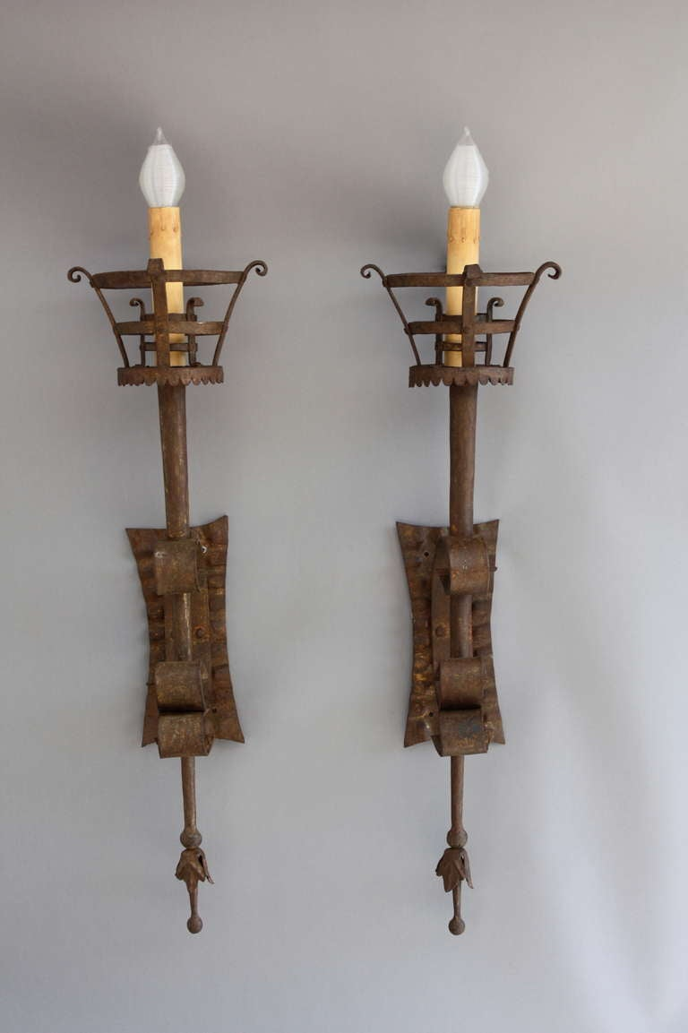 Pair Of Extra Long Spanish Revival Sconces at 1stdibs