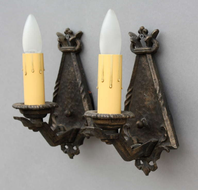 Pair 1920 S Cast Single Light Sconces At 1stdibs