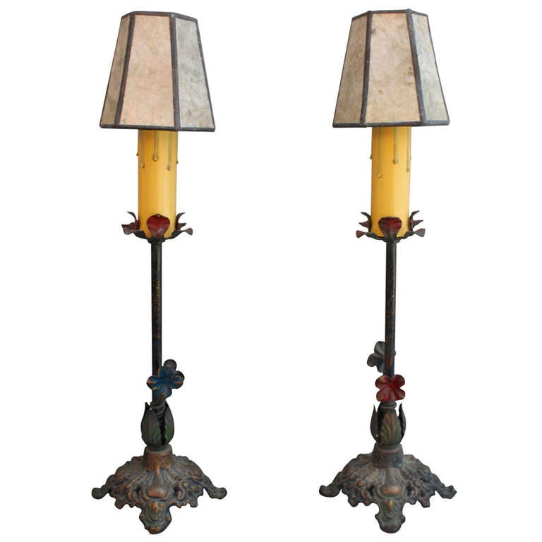antique pair of polychrome table lamps for sale at 1stdibs. Black Bedroom Furniture Sets. Home Design Ideas