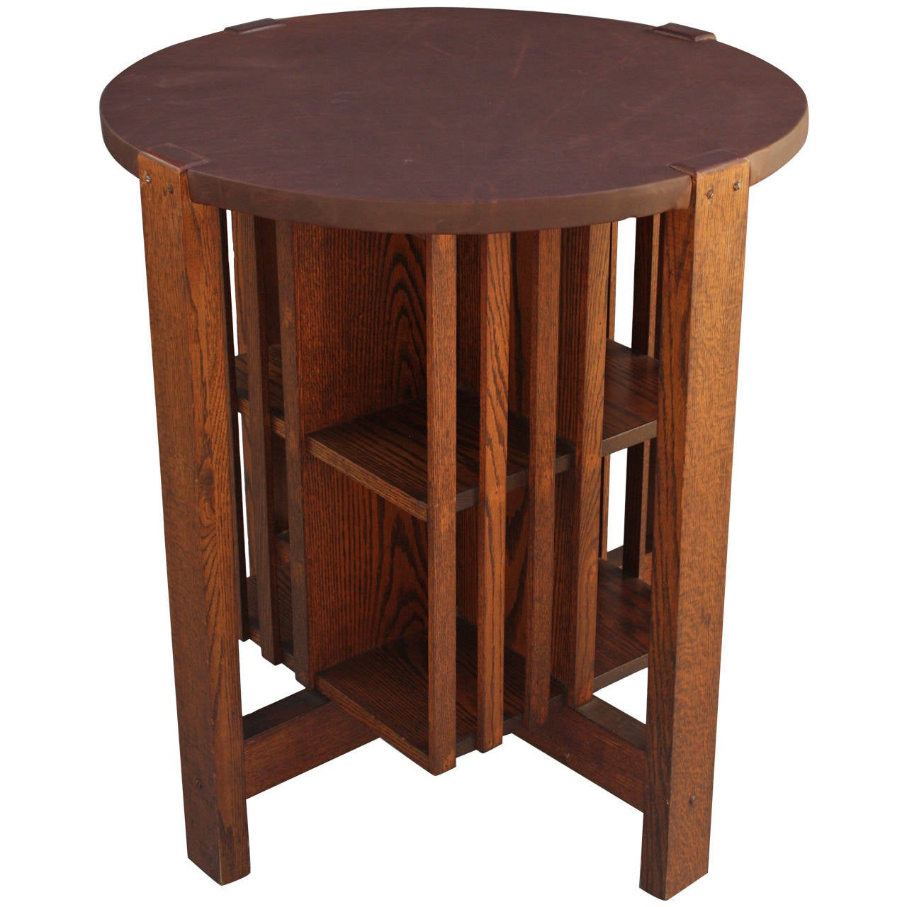Round Arts & Crafts Table With Revolving Bookcase 1