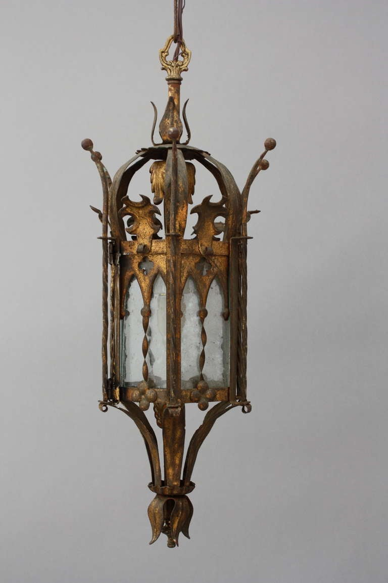 Spanish revivalgothic pendant fixture at 1stdibs pretty pendant fixture with gothic lines quatrefoil cut outs and floral details c arubaitofo Gallery