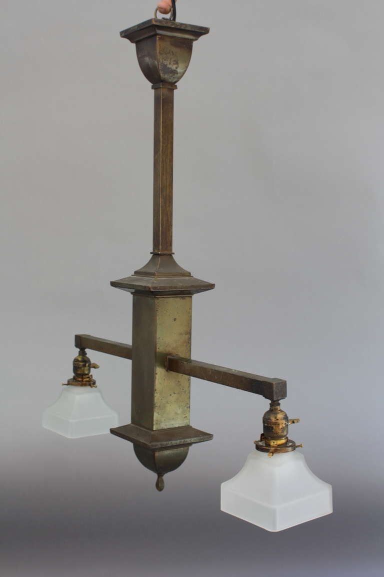 Classic two light arts and crafts chandelier at 1stdibs for Arts and crafts chandelier