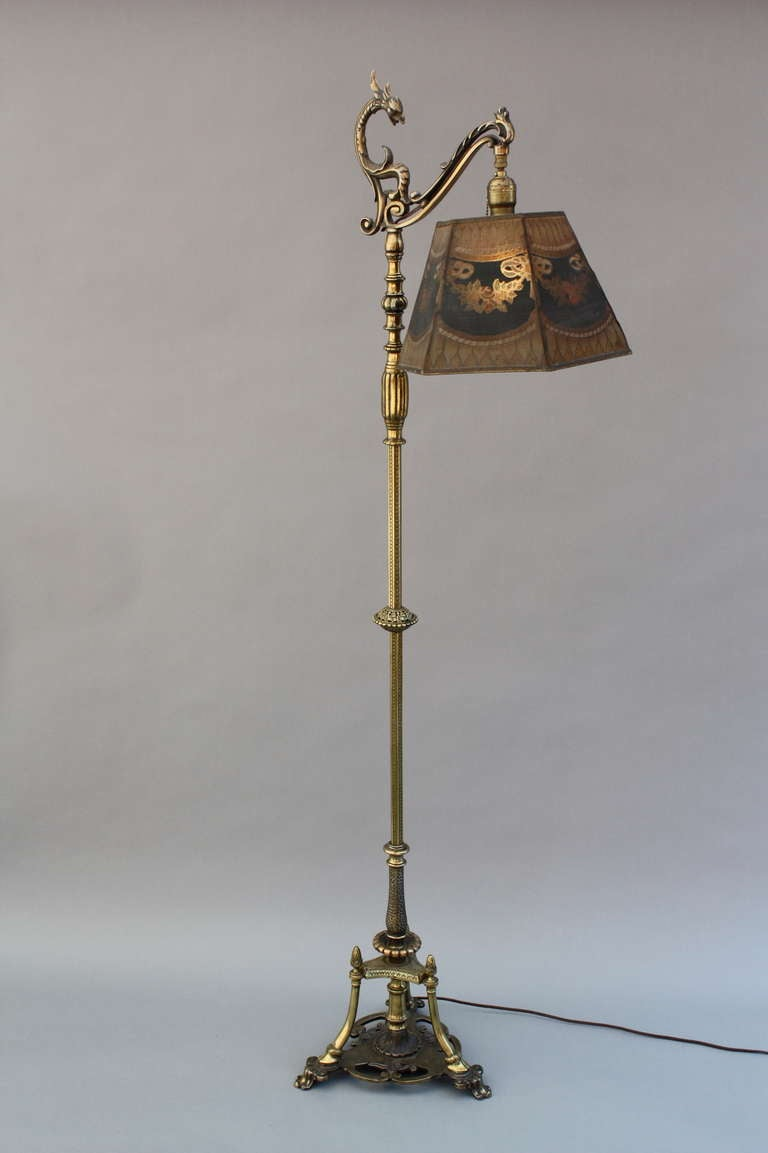 Beautiful Brass Bridge Lamp With Metal Mesh Shade At 1stdibs