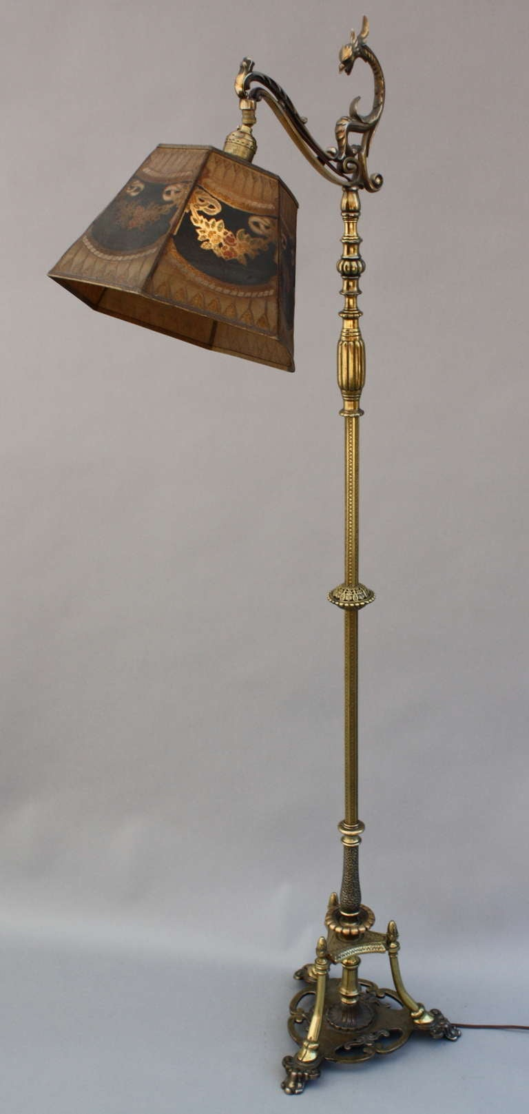 Beautiful brass bridge lamp with metal mesh shade at 1stdibs for Quetzal metal floor lamp