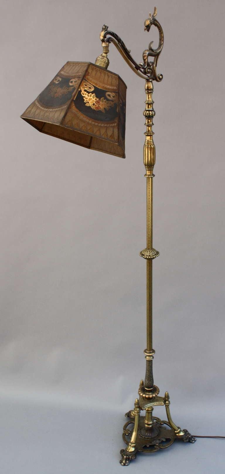 beautiful brass bridge lamp with metal mesh shade at 1stdibs. Black Bedroom Furniture Sets. Home Design Ideas