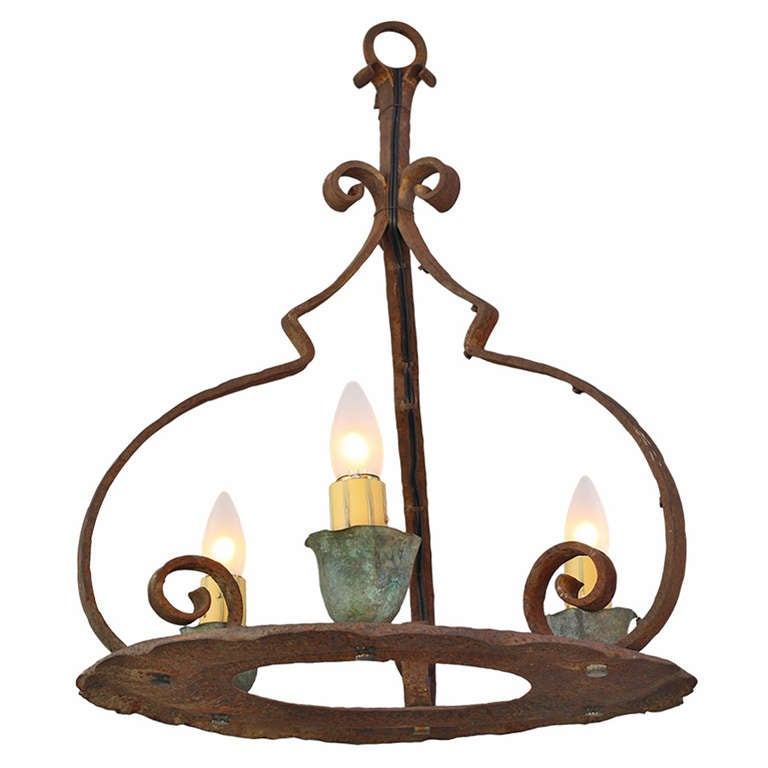 1920s Simple Monterey Period Chandelier For Sale at 1stdibs