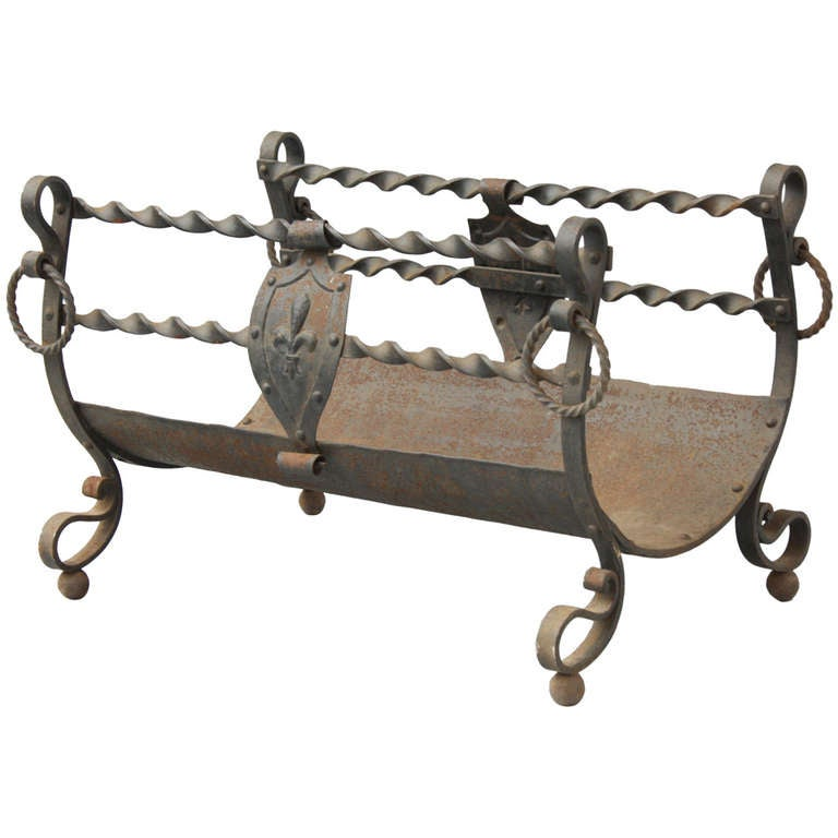 Wrought Iron Spanish Revival Wood Fireplace Log Holder At