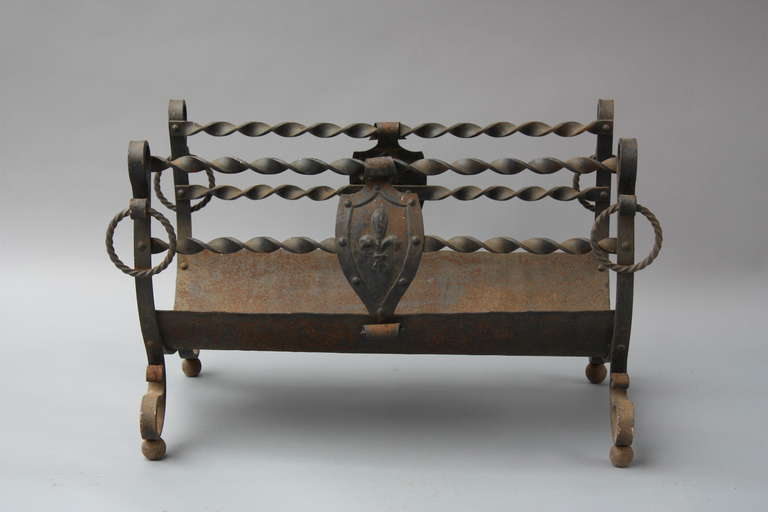 1920s wrought iron revival wood fireplace log