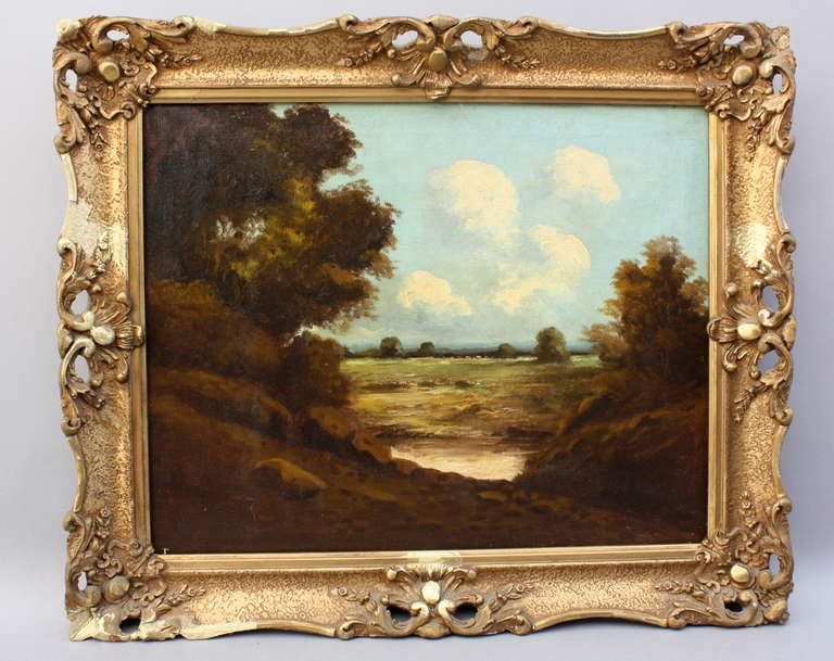 Classically painted oil on canvas set in a shaded foreground that opens to a bright, open field with billowing clouds.  The painting is unsigned.
